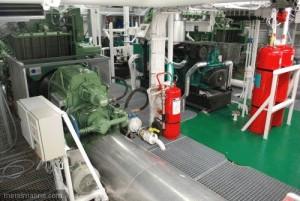 Le compartiment machines de L'Adroit