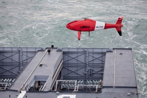 The Camcopter S-100 lifts off the rear deck of the French Navy OPV L'Adroit during initial compatibility trials earlier this month. (Schiebel photo)