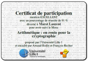 attestation mooc arithmétique / crypto