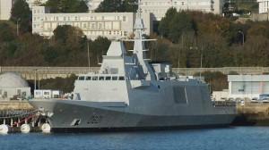La frégate « D 601 » (futur « Mohammed VI ») a accosté au ponton Fremm, vendredi. |